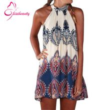 Sisibeauty 2015 nuevo estilo Beach a la moda Casual Summer Dress Loose impreso Halter sin mangas del o-cuello de las Mini mujeres atractivas visten 9(China (Mainland))