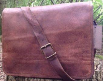 "15"" mano Made in pelle Post Satchel valigetta Laptop Portfolio Messenger borsa vera pelle Post mans Bag"