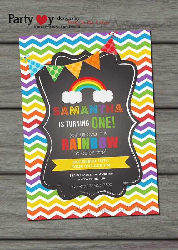 I like the black background on this one, not as common. Rainbow Birthday Invitation Chevron by PartyInvitesAndMore on Etsy, $10.00 each. Physical invites created. Not digital.