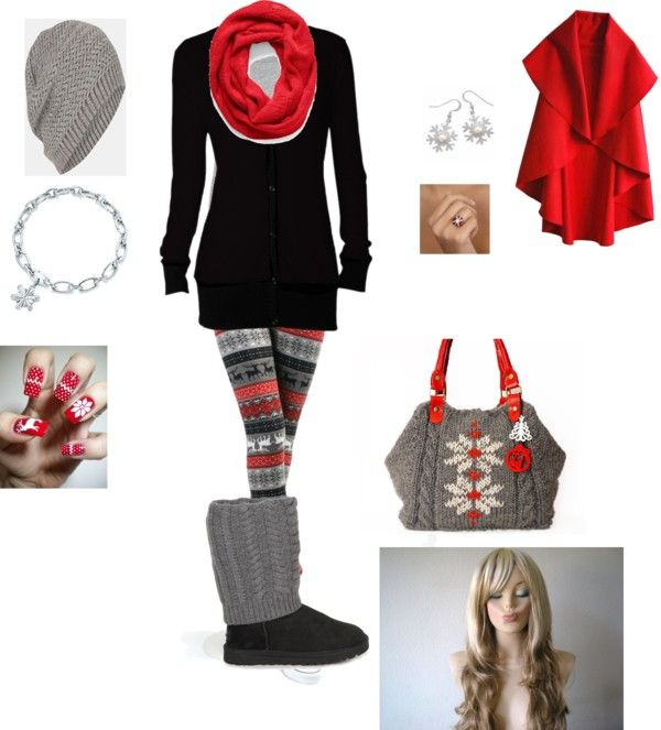 """cozy christmas eve outfit"" by cdalton73 on Polyvore. I've seen these leggings at Newark Farmers Market :) I'll have to shop around for the wig"