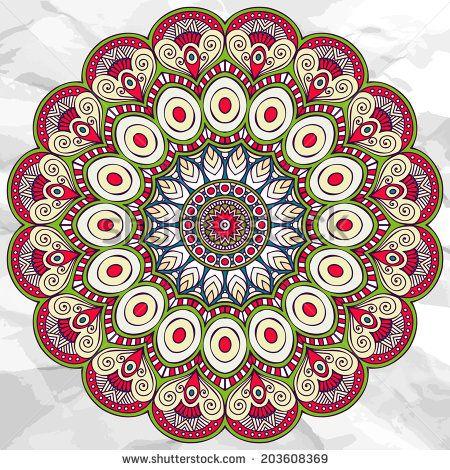Mandala. Round Ornament vector Pattern. Vintage decorative elements. Hand drawn background. Islam, Arabic, Indian, ottoman motifs. - stock vector