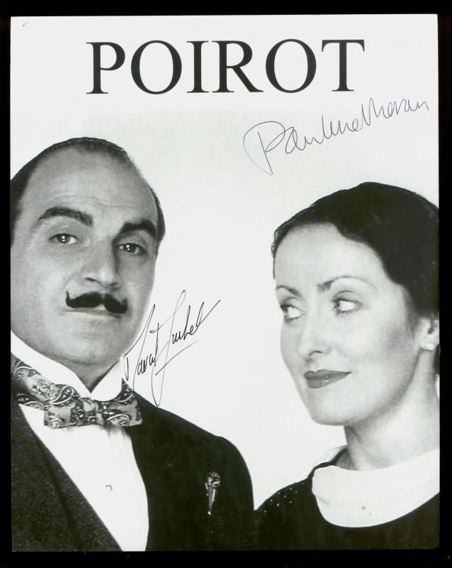 David Suchet as Poirot and Pauline Moran as Miss Lemon in the Poirot series.