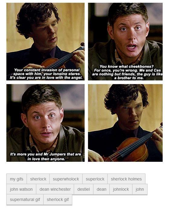Gif set: #Destiel #Johnlock Sherlock and Dean