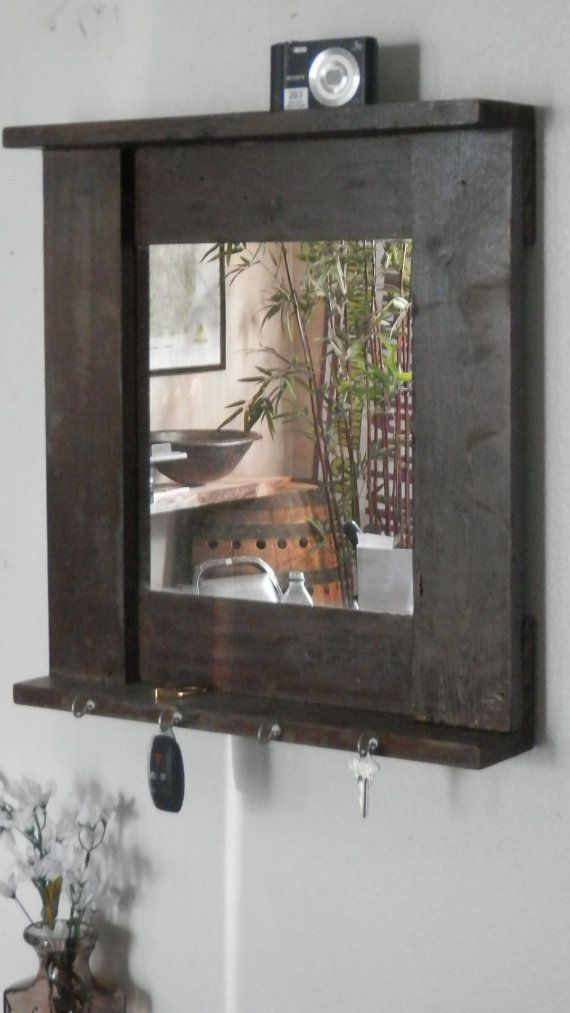 19 x 20 mirror shelf and key holder home decor framed by for Mirror key holder