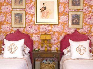pink + orange shared girls room-- art, wallpaper, headboard, linens
