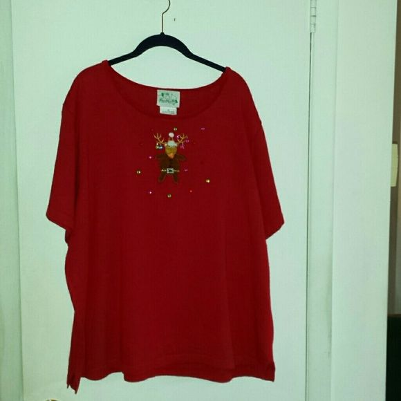"""Quacker Factory sweater Red reindeer sweater. Great for Christmas if you live in warm weather states. Reindeer on front is applique embroidery & sequins. There is a 2"""" slit at the side hem for ease of fit. Velvet trim around the neck. Short sleeve. 53% ramie, 35% cotton, 8% rayon, 4% acrylic. Hand wash cold. Quacker Factory Sweaters Crew & Scoop Necks"""