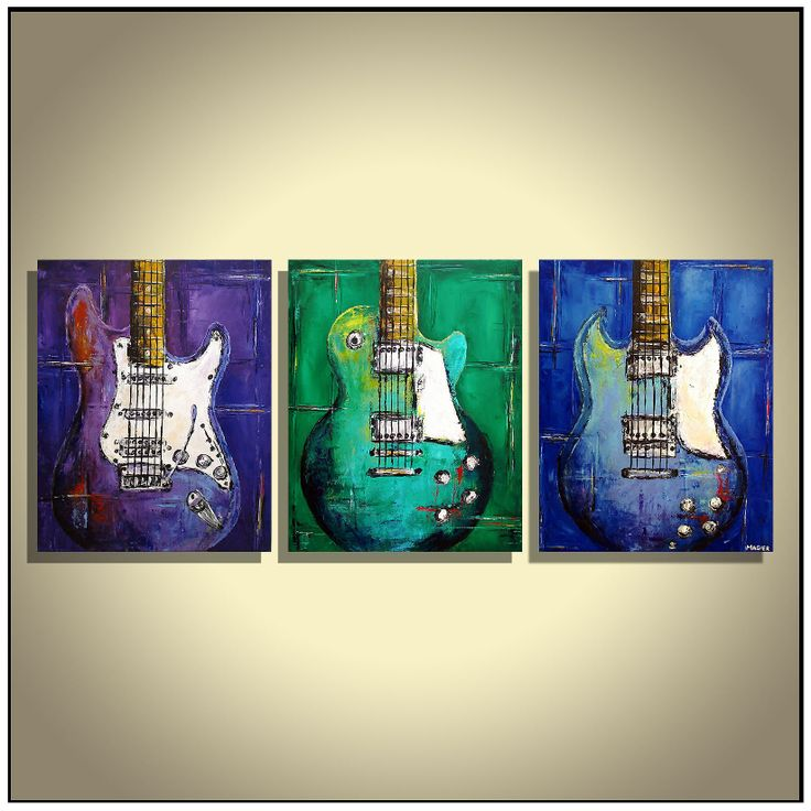 Guitar Art Music canvas Les Paul Blue Green Purple guitar painting on canvas- triptych