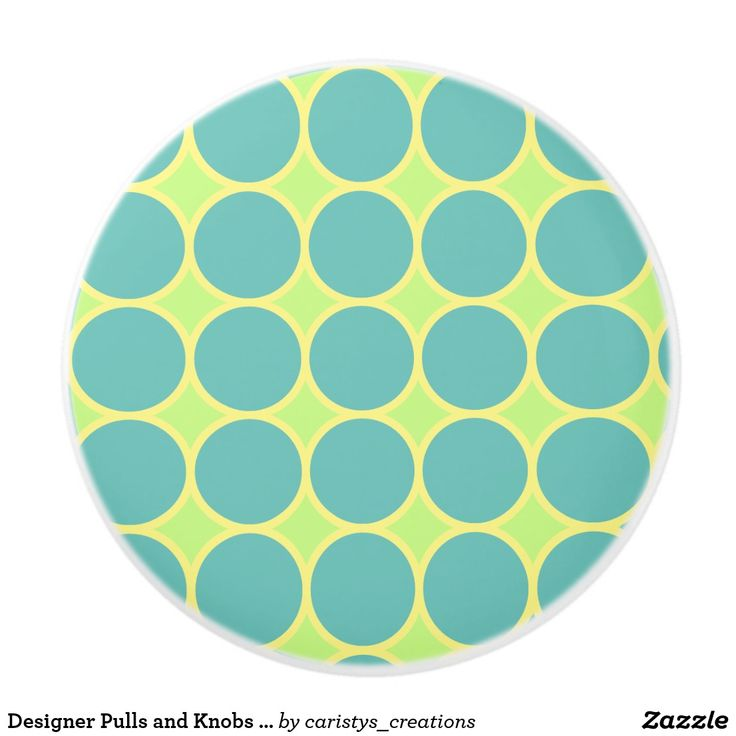 Designer Pulls and Knobs Polka Dots Aqua and Lime