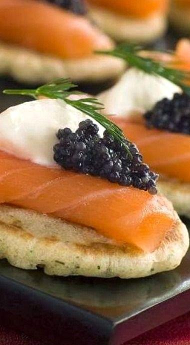 Smoked Salmon Blini with Caviar, Crème Fraîche & Dill