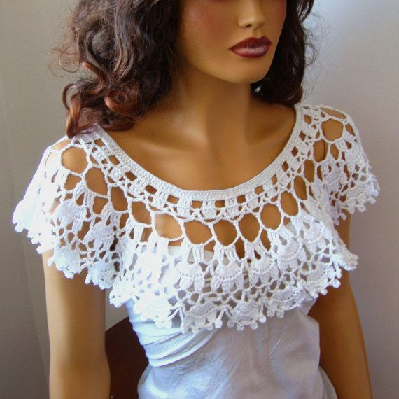 Hand Crochet Bridal bolero shrug White Lace Capelet Shawl by Pasin