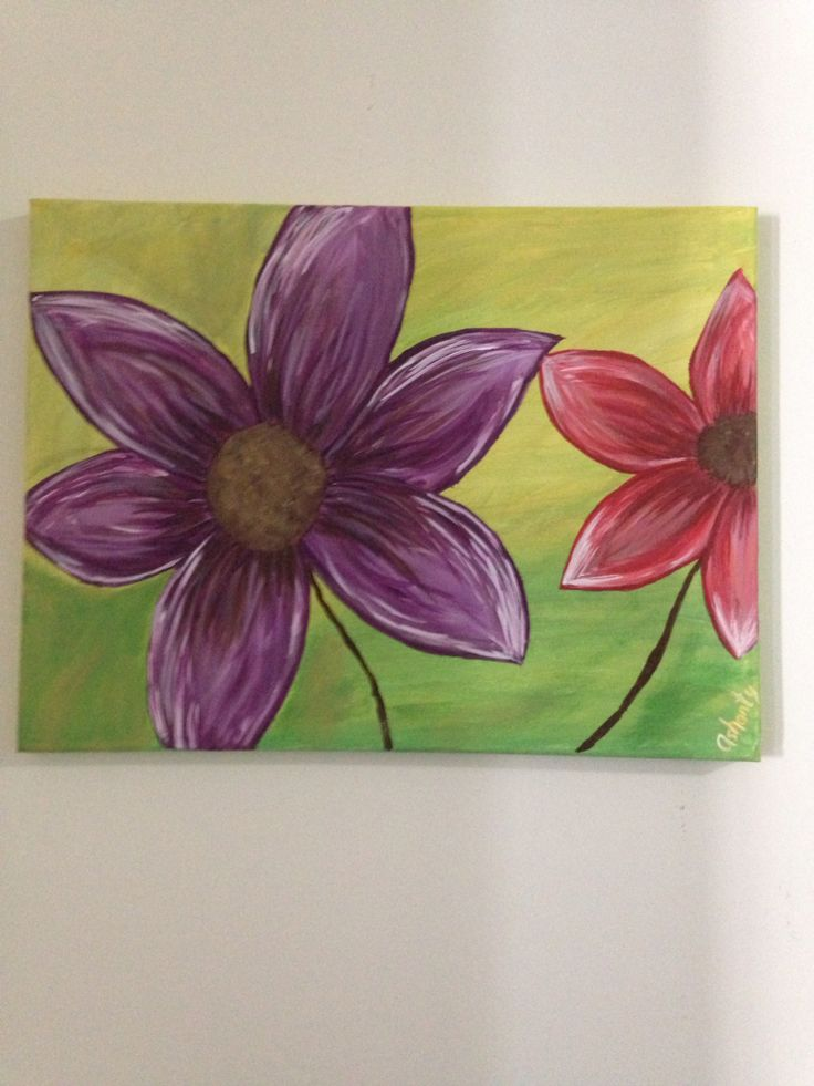 Flower canvas painting for my daughter's room.