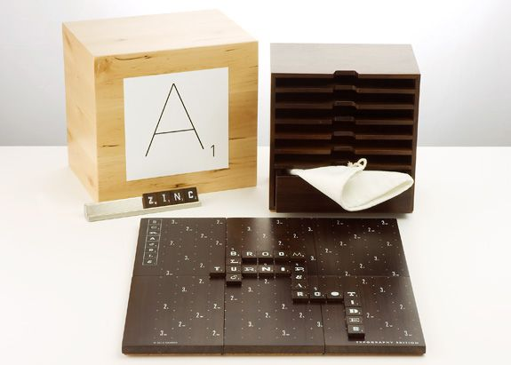 Scrabble Typography Limited Edition - a scrabble set with 15 different typefaces on the tiles