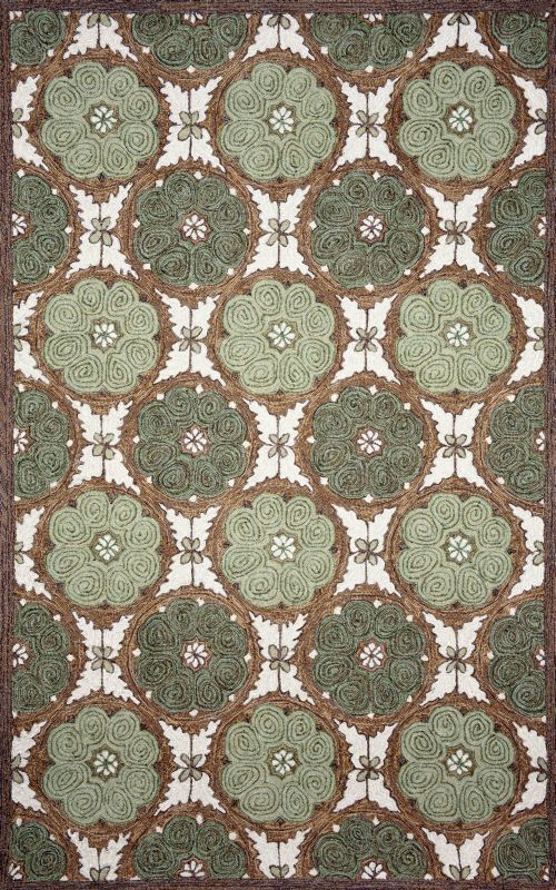 Ravella Lakai Circles Green Outdoor Rug By Liora Manne By TransOcean