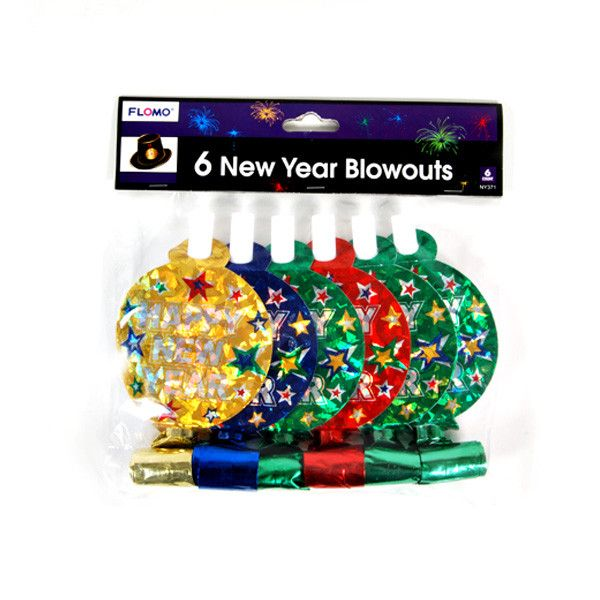 5.5 Inchx6Pcs Hologram Printed New Year Blowout 4 Colors/Case of 72