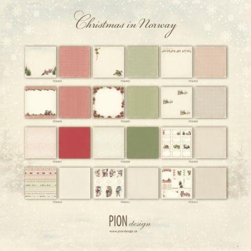 """PION DESIGN - CHRISTMAS IN NORWAY PD6400F - EN AV ALLE 12 TOSIDIG MØNSTERARK i serien """"CHRISTMAS IN NORWAY"""" en kolleksjon fra PION DESIGN.Arket måler ca 30,5cm x 30,5cm.Christmas in Norway - a collection in a Christmas theme - All 12 double sided papers - Paper size 12x12"""""""