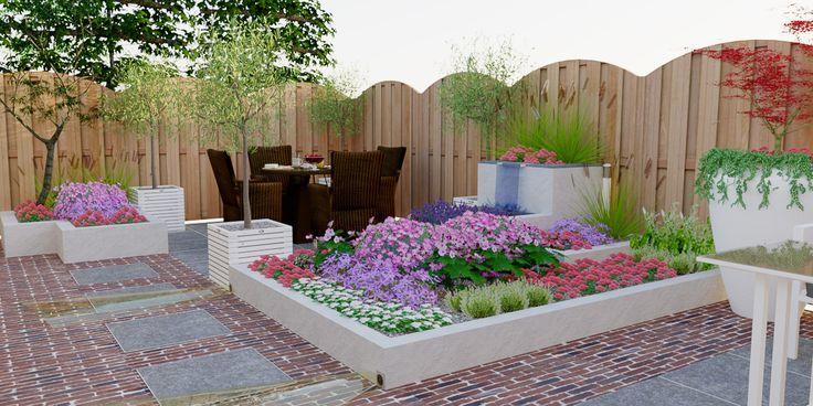 Tuinontwerp voorbeeld  wit gestucte verhoogde border. De bloembak is opgebouwd uit verschillende lagen met een ingebouwde waterloop in de bovenste laag.