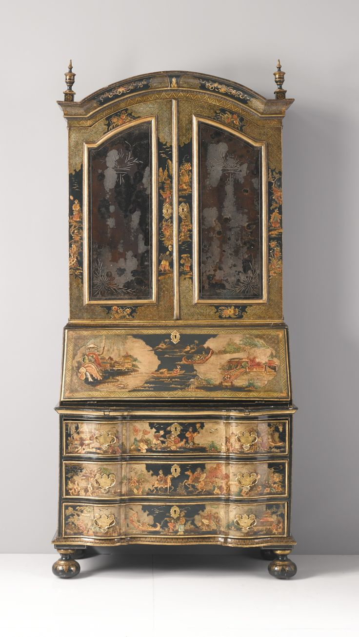 A German Baroque parcel-gilt and polychrome-japanned bureau cabinet probably Berlin, second quarter 18th century.