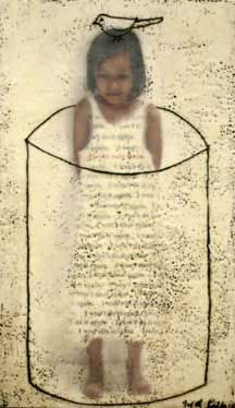 """JUDITH KINDLER /""""I Won't do it Again I"""" /24"""" X 40""""/  Mixed Media including Encaustic and Oil on Panels/  2005"""