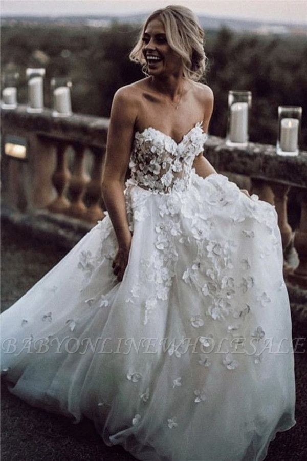 Sexy Elegant Jewel Wedding Dresses | Simple Longsleeves Backless Floral Bridal Gowns
