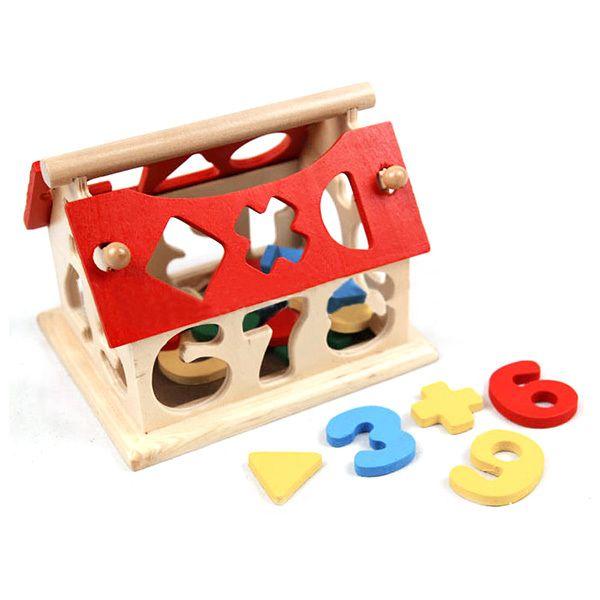 Cheap Los niños del bebé Juguetes de madera Número Casa Building Blocks juguetes educativos Intelectual, Compro Calidad Juguetes Matemáticos directamente de los surtidores de China:    100 % nuevo y de alta calidad .  Deje que su bebé tome a cabo diversas formas de madera de viga , reconoce su color.