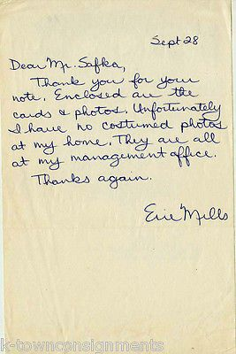 ERIE MILLS SOPRANO OPERA SINGER / TEACHER AUTOGRAPH SIGNED HAND-WRITTEN LETTER
