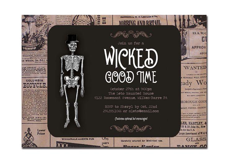 Adult Halloween Party Invitations Part - 50: Vintage Halloween Invitation Adult Party Invitation Retro Skeleton Wicked  Good Time Newspaper DIY Digital Or Printed