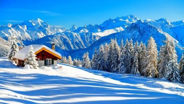 Houses beautiful mountain winter wallpaper HD.