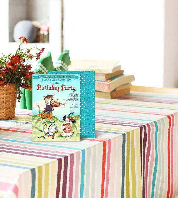 Nursery rhyme birthday party invitation / printable invitation