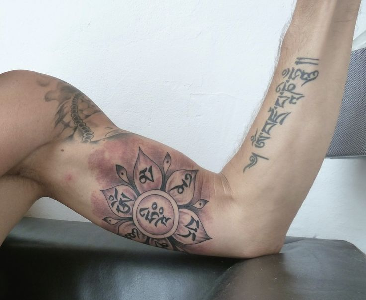 Om mani padme hum tattoo celebrity flowers
