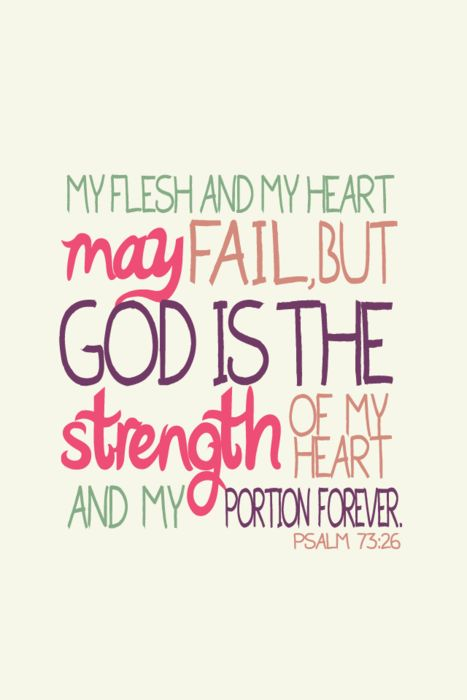 Psalm 73:26....this verse is tattooed on my body to remind myself I am human and will make mistakes, but God IS my stength!