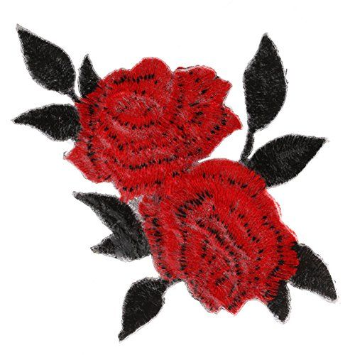 1Pc Red Roses Flower Embroidered Iron On Patches Embroide... amazon.com