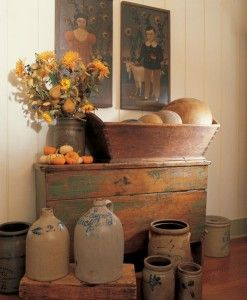 Love old wooden ware and crocks