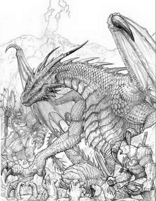 Dragon fantasy myth mythical mystical legend dragons wings sword sorcery magic coloring pages colouring adult detailed