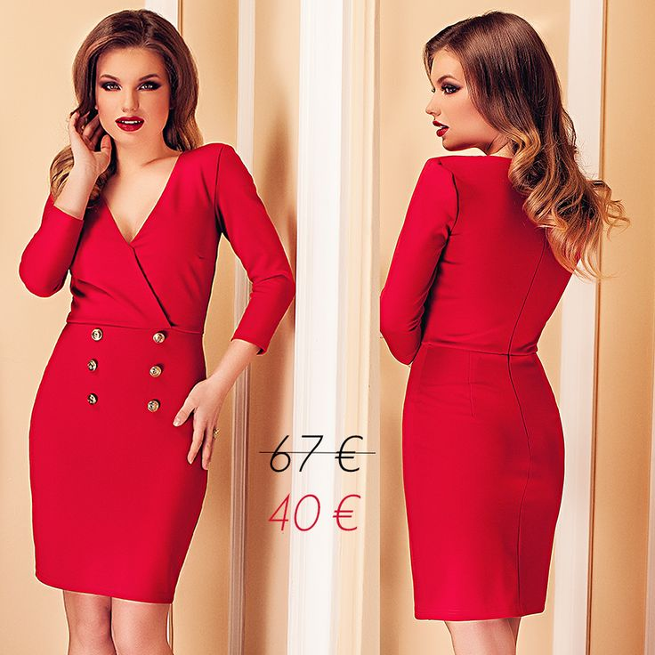 Short elegant red dress with gold buttons, with 40% off discount this month: https://missgrey.org/en/dresses/short-office-dress-red-with-gold-buttons-anelisse/481?utm_campaign=martie&utm_medium=anelisse_rosie_reducere&utm_source=pinterest_produs