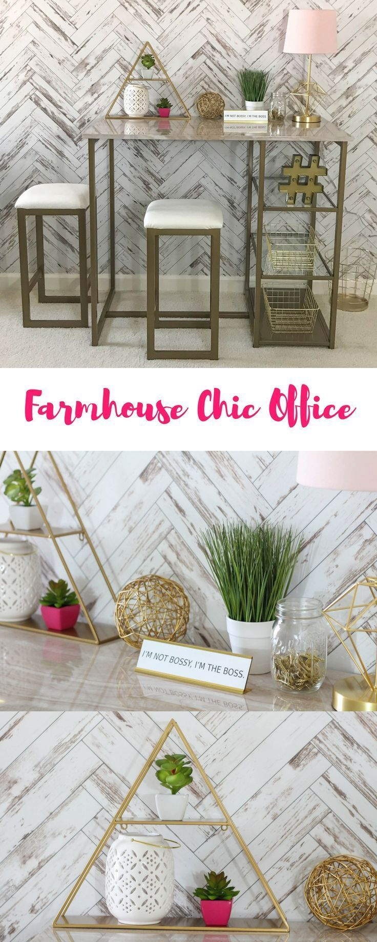 Farmhouse chic home office space modern farmhouse decor removeable wallpaper chevron wood wall