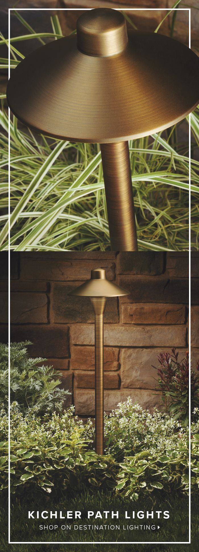 Elegant Aged Brass Meets Clean, Modern Lines With This Outdoor Path Light  From Kichler Lighting