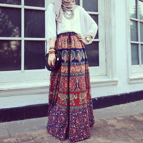 boho hijab ethnic skirt muslim girls islamic fashion turkish street style
