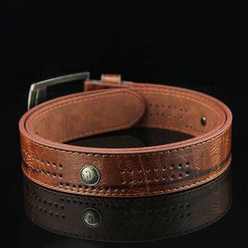 110CM Mens Retro Cowboy Leather Belt Leisure Wild Hollow Rivet Punk Pin Belt Waistband Strips at Banggood