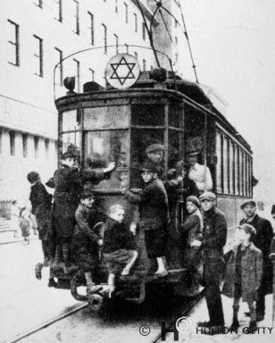 "Poland, tramway                        (""ghetto tram"") with Jewish star                        1942-1943 approx."