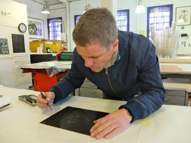 Lorenzo Nassimbeni creating an etching...