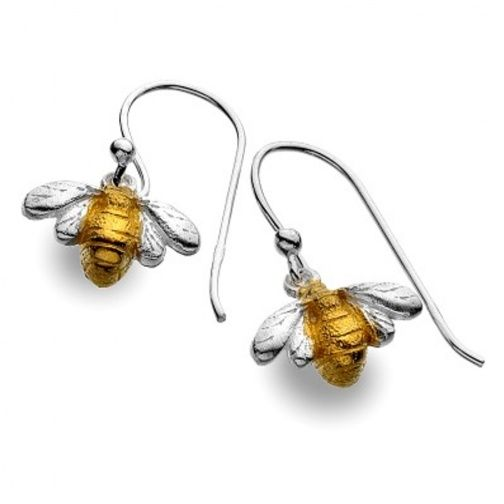 Sterling Silver Jewellery UK: Sterling Silver and Gold Bee Dangly Drop Earrings