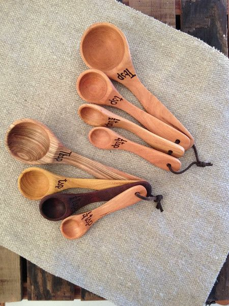 Handcrafted wood measuring spoons made in Virginia.   Made from Virginia hardwoods (Maple, Cherry, Birch, Beech, or Walnut).