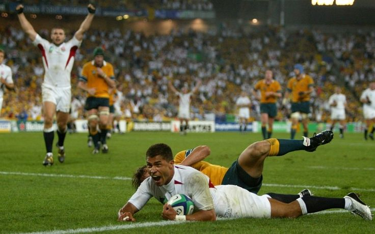 Jason Robinson's try for England in the final, 2003: England's only try of the final showed Clive Woodward's team at their attacking best. A flowing move led to Jason Robinson touching down in the corner to give England a 14-5 half-time lead