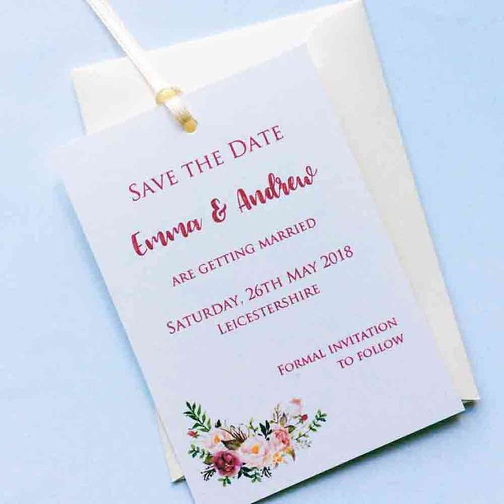 Watercolour Roses Save the Date Tag