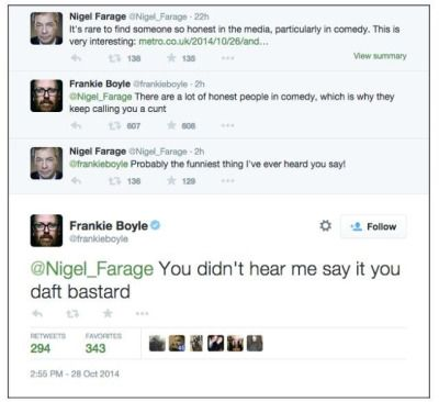 Frankie Boyle and Nigel Farage (sorry for the language)