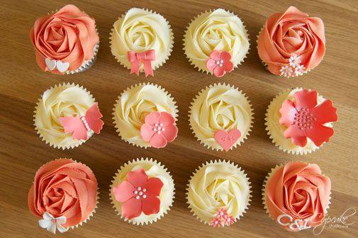 cute coral wedding cupcakes