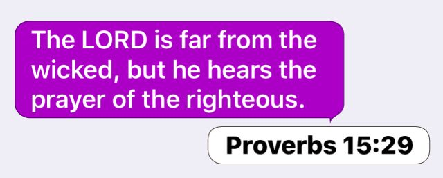 Proverbs 15:29: The LORD is far from the wicked, but he hears the prayer of the righteous.