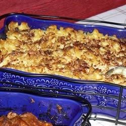 Tender noodles are stirred with a comforting blend of margarine, sour cream, egg substitute, sugar, lemon juice, vanilla extract, chunky applesauce, and raisins. Bake over a light sprinkling of graham cracker crumbs and top with cinnamon for a sweet treat.