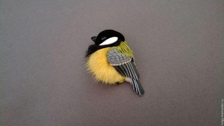 Купить Брошь из кожи Синица - желтый, синица, синичка, синицы, синички, птица, брошь из кожи