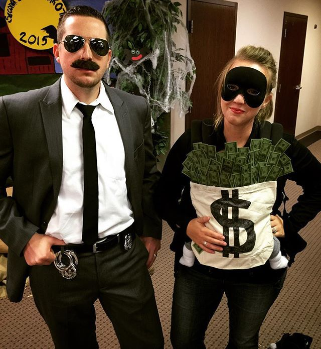 Pin for Later: 42 Adorable Halloween Costumes For Baby-Wearing Parents Bag of Money (and Burglar and Cop)